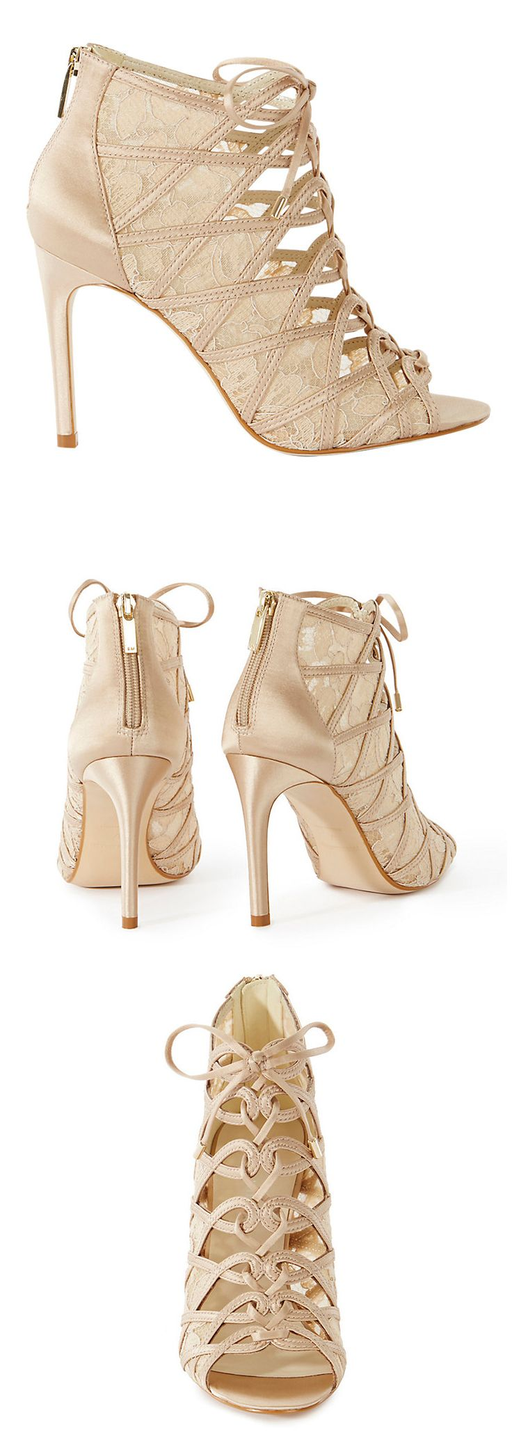 Karen Millen Satin and Lace Stiletto Heeled Shoe Boots in Champagne or Black. Great for Autumn / Spring Racing Race Day Outfits, or Eveningwear. Satin and Lace Shoes / Boots. Outfit Inspiration, Outfit Ideas. Killer Heels. #karenmillen #satin #lace #fashion #fashioinista #affiliatelink #shoesdaytuesday #shoeaddict #stilettos