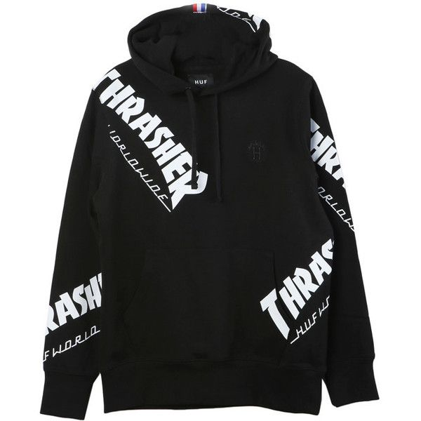 HUF Thrasher TDS Hoodie (360 RON) ❤ liked on Polyvore featuring tops, hoodies, huf hoodies, hooded pullover, hoodie top, huf and hooded sweatshirt