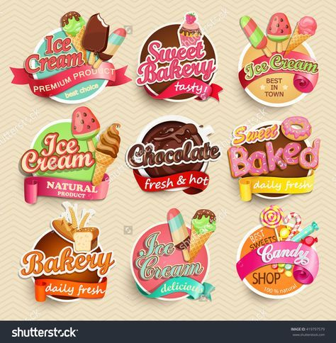 food label or sticker bakery ice cream chocolate sweet baked
