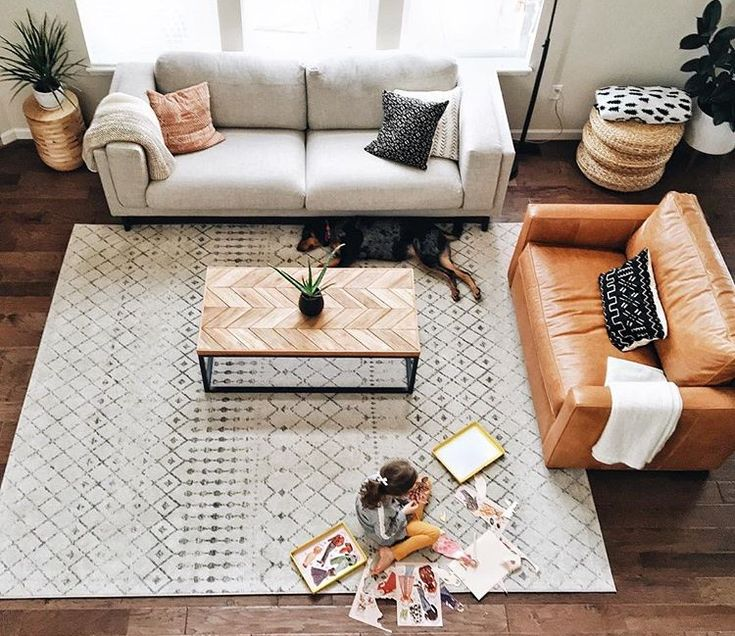 Living room with chevron style coffee table