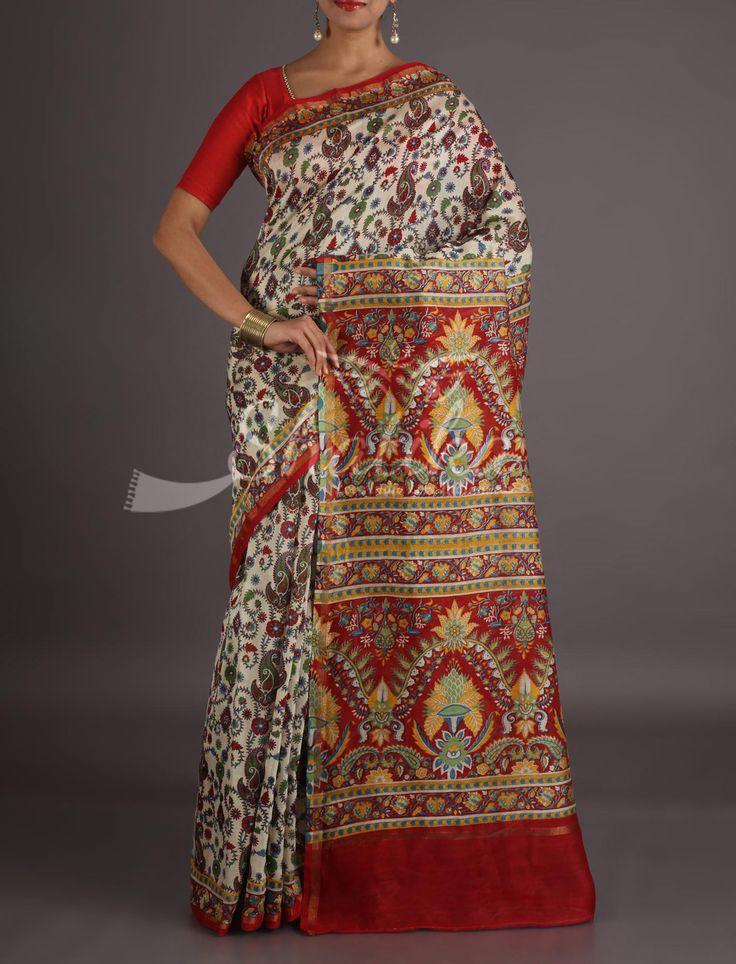 Prateeksha Bel Bloom All Over With Contrast Pallu Bagh Print Saree