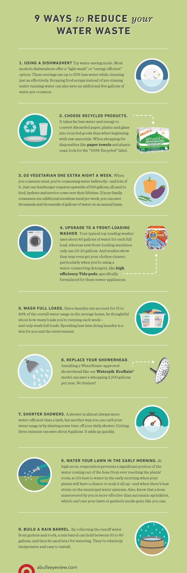 Check out our 9 ways to reduce your water waste - every little bit makes a huge impact on the environment! Do your part!