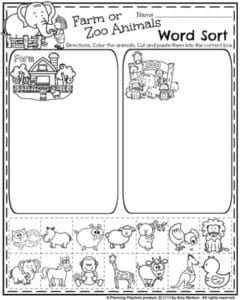 Back to School Preschool Worksheets - Farm or Zoo Animal Word Sort.