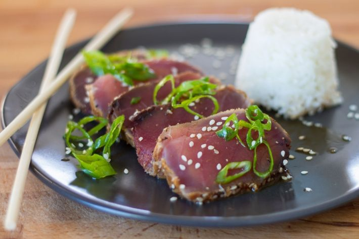 We love cooking tuna in the Anova Sous Vide Precision Cooker. This sous vide ahi, or yellowfin, tuna is enhanced with just a few ingredients: honey, ponzu, and chili-garlic sauce. The result is an Asian-inspired tuna that's a little sweet, a little sour, and a little spicy. It's all sorts of good.