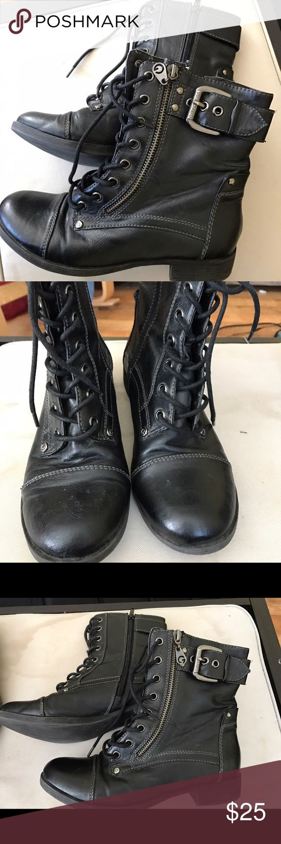 Guess Low Ankle Boots Booties for Women size 6 These boots are in very good used condition. Black, lace up booties. Guess Shoes Ankle Boots & Booties