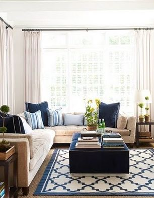 brown & taupe living room with navy blue accents.- living room inspiration