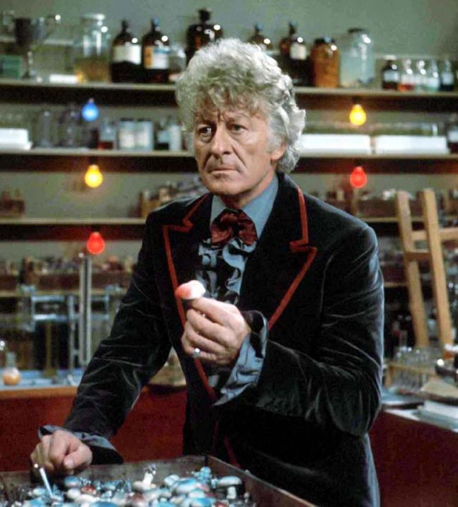 I own this costume that Jon Pertwee wore as Dr. Who -- thanks to dear generous Jon, whom I knew. The outfit looks beautiful here on its original owner!