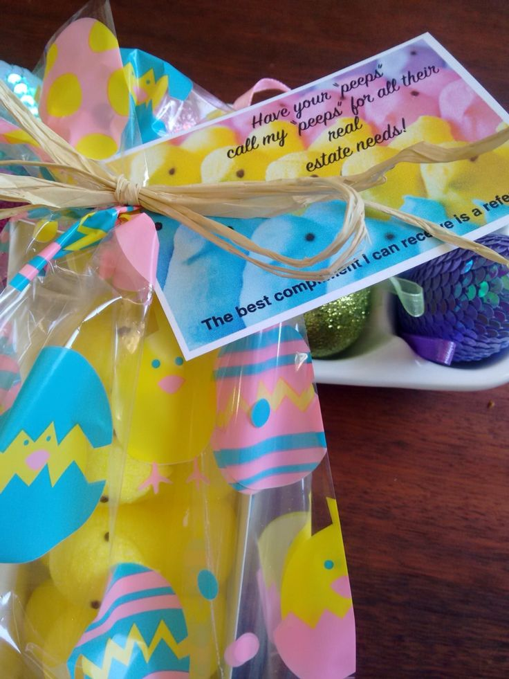 """Easter Pop-by! These were a huge hit with my clients! """"Get your peeps to call my peeps!"""""""
