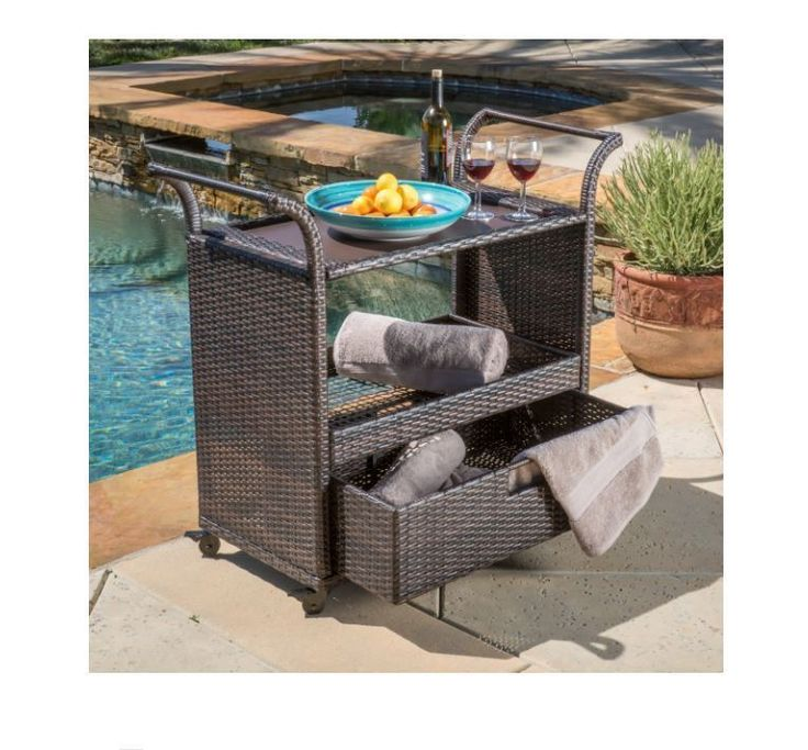 Rolling Bar Cart With Wheels Outdoor Portable Wicker Kitchen Island Multi-Brown…