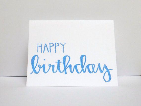 Blue happy birthday modern calligraphy heat embossed