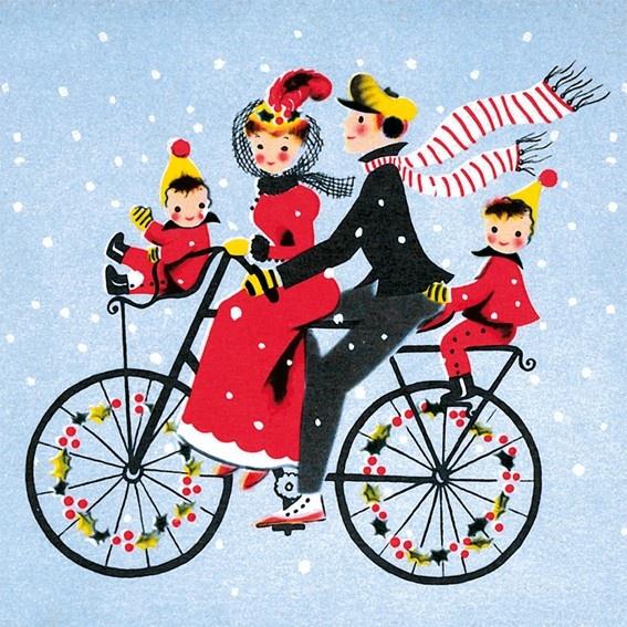 Vintage Christmas card - family on bicycle art