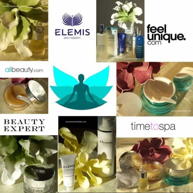 7 pictures of Elemis products, 5x logos of merchants, 1 logo Moreyouthfulskin, spa home cosmetics, Elemis product reviews, Elemis spahome, Best spahome cosmetics, spa cosmetics