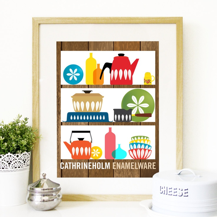 Mid Century Modern decor shelves with by PeanutoakPrint on Etsy