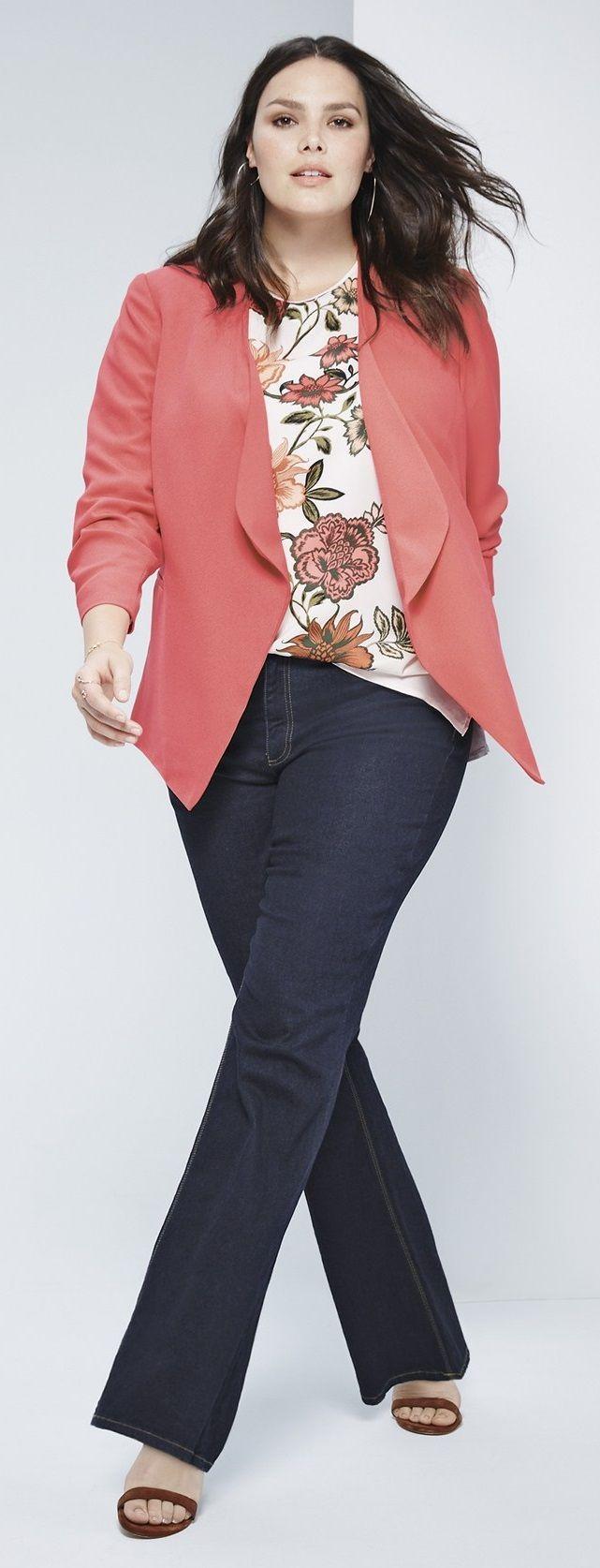 Plus Size Fashion - Plus Size Outfit - Plus Size Drape Front Blazer