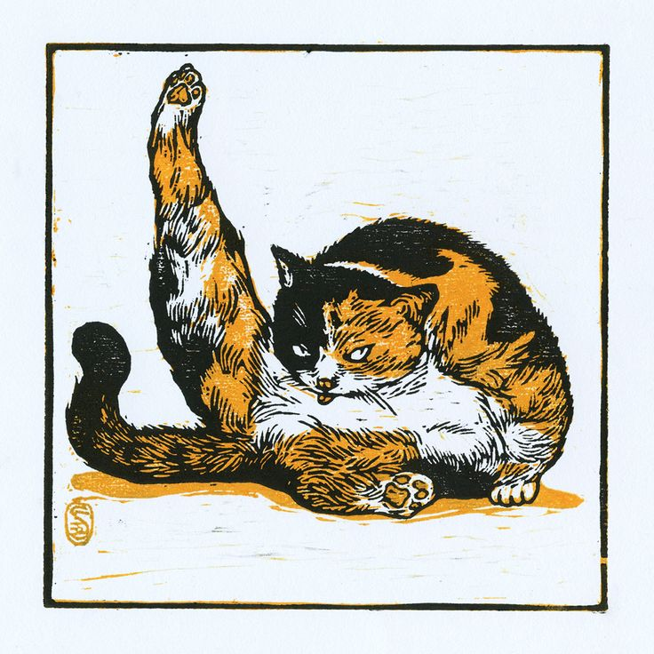 Woodcut Print Arrogant Cat on Behance