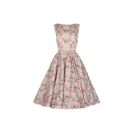 Lindy Bop Audrey Peach Floral Šaty ve stylu 50. let. Romantické šaty ve střihu Audrey s lodičkovým výstřihem a kolovou sukní. Vhodné pro družičky či svědkyně na svatby, pro párty či zahradní slavnosti. Nádherný květinový vzor, velmi příjemný strečový materiál (silnější bavlna 97%, 3% elastan) zajistí Vaše pohodlí. Zapínání na zip v zadní části, kapsy v bočních švech, pásek ve stejném vzoru součástí.