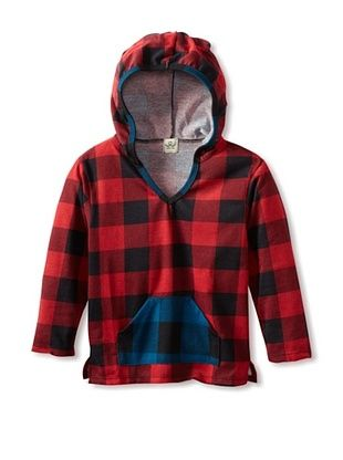 89% OFF water+son Boy's Baja Hoodie With Contrast Pocket (Red Buffalo Check)