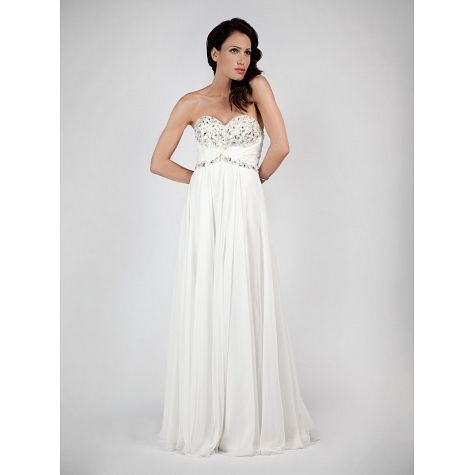 Wedding long strapless dress with beaded vest