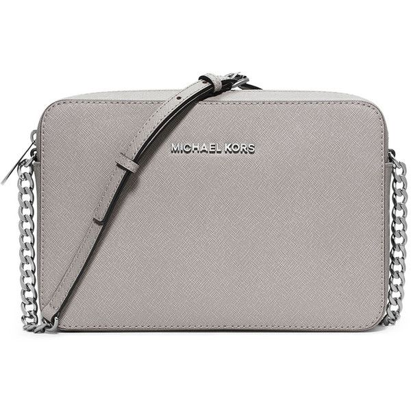 MICHAEL Michael Kors Jet Set Travel Large Crossbody Bag ($148) ❤ liked on Polyvore featuring bags, handbags, shoulder bags, pearl gray, leather crossbody, cross body travel purse, leather crossbody purse, leather shoulder bag and grey leather handbags