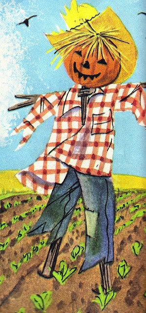 """Scarecrow illustrated by Alice Schlesinger. From """"Little Boy Blue Finger Plays Old And New,"""" 1966."""