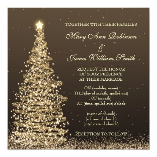 Elegant Christmas Wedding Gold Brown Invites