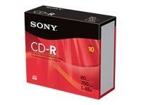 Sony Branded 48X CD-R Discs in Jewel Cases by Sony. Save 63 Off!. $3.66. CD-R (CD-Recordable) offers a 700MB/80 minute capacity, a 48X write speed and branded surface. Ideal for demo music mastering, prototyping CD-ROMs and limited edition CD production runs. Disk delivers the mechanical precision needed to meet today's high-speed recording requirements and is compatible for playback on CD-ROM, audio CD players and photo CDs. Disks come in slim jewel cases.