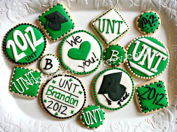 UNT Graduation coordinating cookie set   www.facebook.com/tinykitchencakery