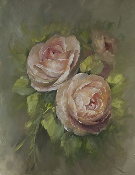 Ambridge Roses. Downloadable Painting Lesson. Rose painting on canvas board(http://www.jansenartstore.com/p5027d-ambridge-roses-download-packet/)