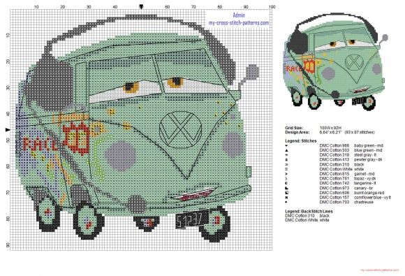 Fillmore Wolkswagen microbus Disney Cars cross stitch pattern (click to view)