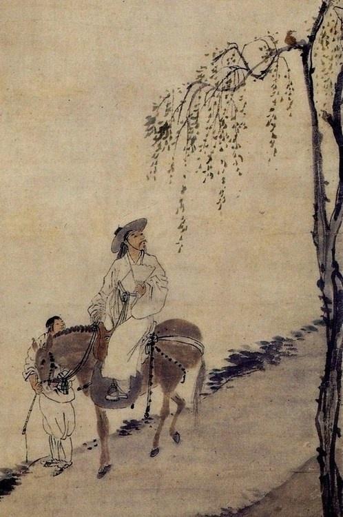 artsofkorea:    Kim Hong-do (born 1745)    마상청앵도 (detail)    Korean, Joseon…