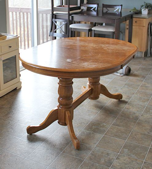 Refinish Kitchen Table: DIY: Refinish An Old Oak Table (Before & After)