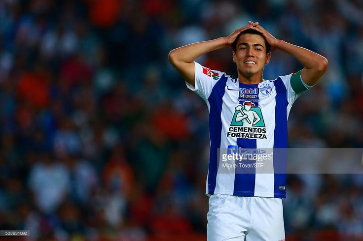 Erick Gutierrez of Pachuca reacts during the semi finals first leg match between Pachuca and Leon as part of the Clausura 2016 Liga MX at Hidalgo Stadium on May 22, 2016 in Pachuca, Mexico.
