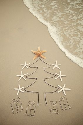 beach christmas- cute card idea. Could get the kids to draw a picture in the sandpit or on a sand tray. Then decorate it with shells, seaweed, stones and driftwood.