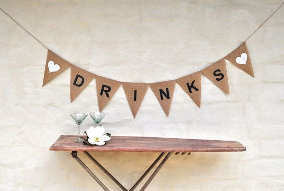 DRINKS Hessian Burlap white heart Celebration 21st Engagement Wedding Party Banner Bunting Decoration Birthday black and white wedding on Etsy, $25.20