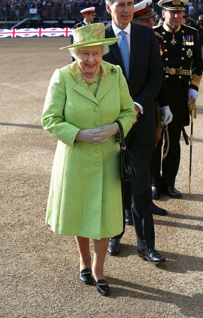 Queen Elizabeth II attends The Royal Marines 350th Anniversary Beating Retreat at The Royal Horseguards on June 4, 2014