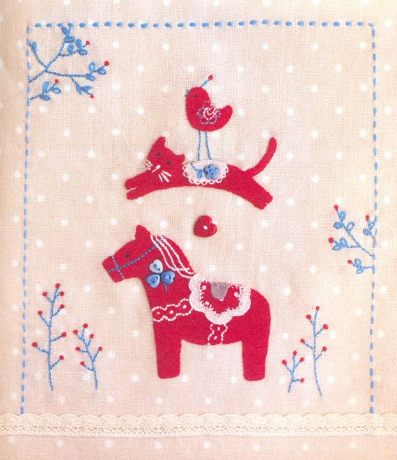 Dala horse + cat + bird + embroidery = needlework that couldn't get better