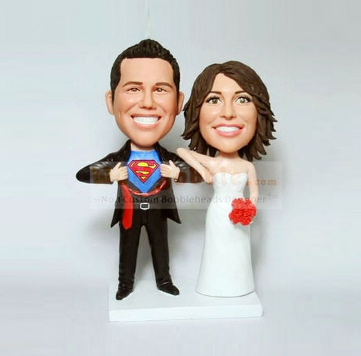 Superman Wedding Cake Topper Personalized