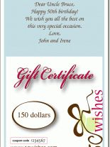 Gift Certificates inscribed with your personal message and a coupon code
