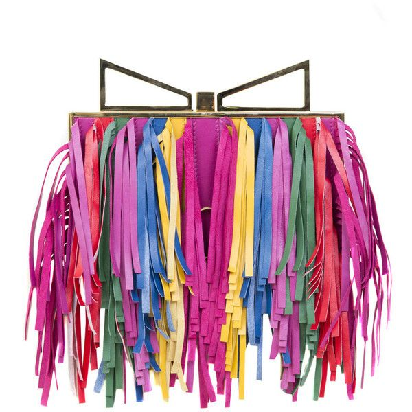 Sara Battaglia Leather Clutch Lady Me Sbang with fringes ($1,705) ❤ liked on Polyvore featuring bags, handbags, clutches, multicolor, colorful handbags, fringe clutches, leather fringe purse, real leather handbags and genuine leather purse