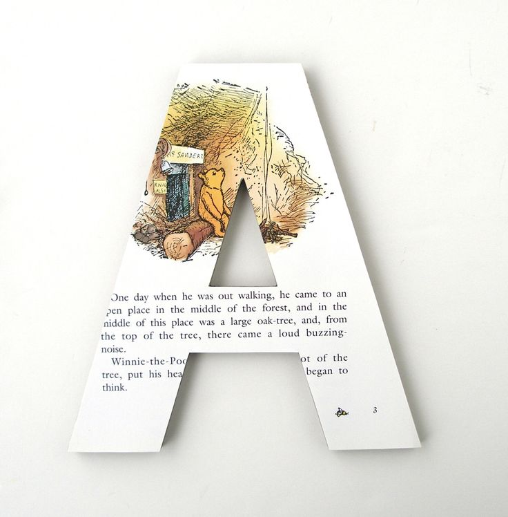 Winnie the Pooh Custom Letters - Children's Used Book Pages - Nursery Alphabet Décor - Storybook Name Art - Cat in the Hat Baby Shower Gift by LetterLuxe on Etsy https://www.etsy.com/listing/263204477/winnie-the-pooh-custom-letters-childrens