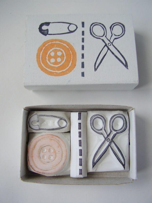 Sewing scissor button pin matchbox stamp set.