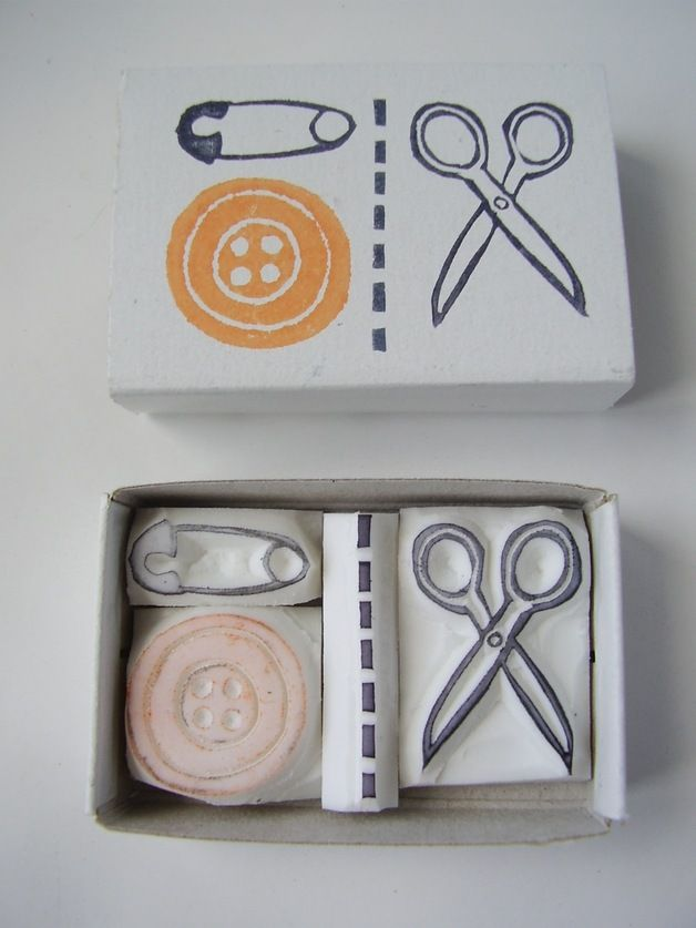 Sewing scissor button pin matchbox stamp set.