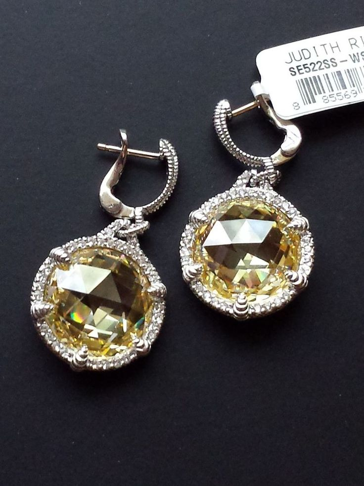 Judith Ripka Canary Crystal & Sapphire Earrings -Sterling Silver, 18K Gold Posts #JudithRipka