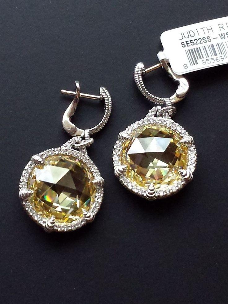 Judith Ripka Canary Crystal & Sapphire Earrings -Sterling Silver, 18K Gold Posts #JudithRipka