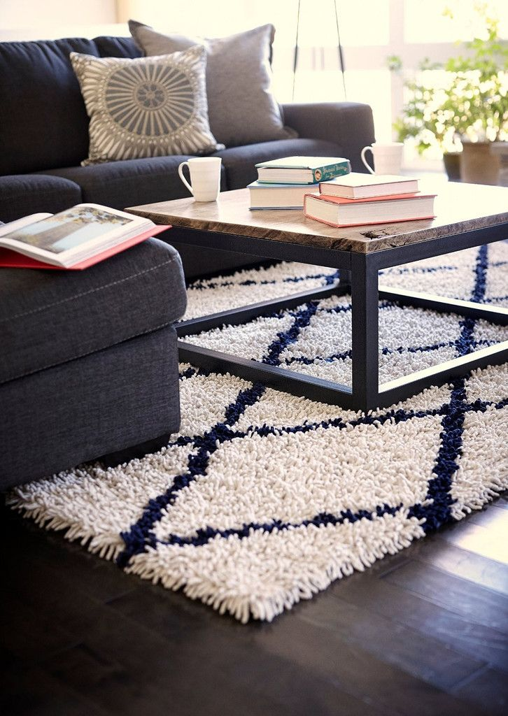 Area Rugs   Ivory Silky Shag Rug With Navy Diamond U2013 Oxeme Home