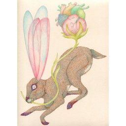 Galerie 3e Parallèle, Delphine Vaute, dessins, encre crayon feutre sur papier, le lièvre de mars