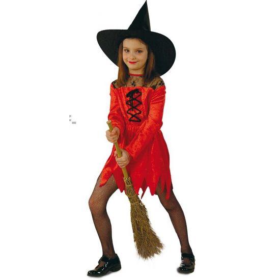 Rode heksenjurk voor meisjes. Rode suede heksen verkleedjurk met aan de bovenkant zwart kant en zwarte veters voor meisjes.
