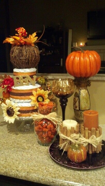 Fall themed baby shower decor.