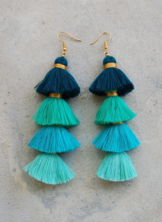 Ombre Tassel Earrings•Pinterest : @vandanabadlani• Fashion, image, outfit, street style, hipster, teen, body goals, Pretty Beauty, girl, girly, hair, makeup, love, icon, eyelash, brows, hairstyle, nails, fashion, style, girl inspiration, gorgeous people, image, cute, lush, life  Bff goals, best friend, girl friends, travel, love, image, cute, lush, life