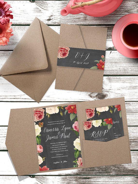 Chalkboard Flowers Pocket Fold Wedding by pineappleinvitations